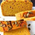 A collage of two gluten-free vegan pumpkin bread photos