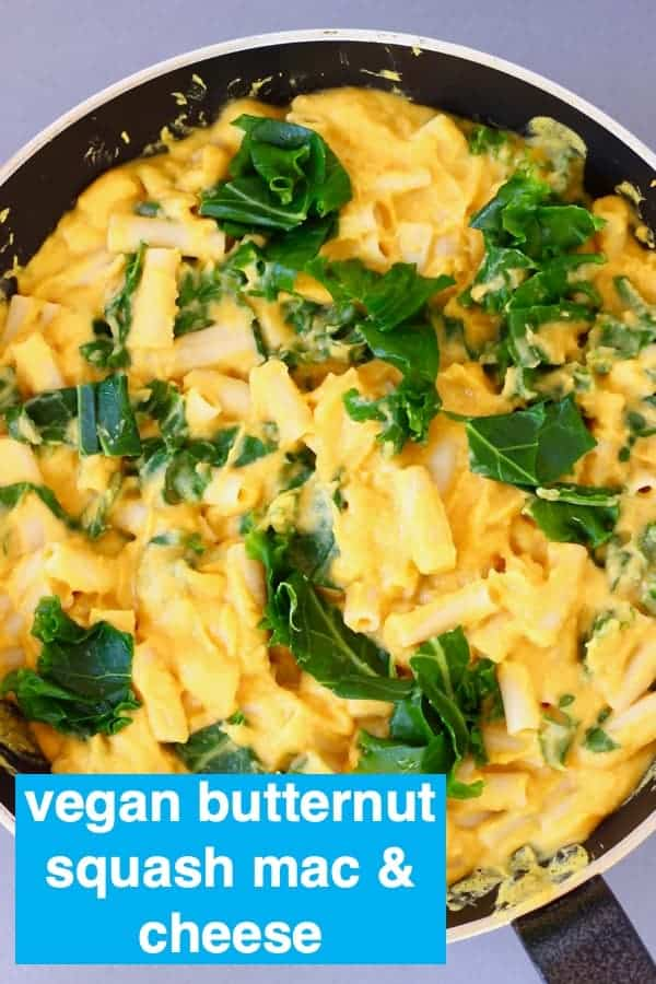 ThisVegan Butternut Squash Mac and Cheese is rich and creamy, full of flavourand so comforting. It makes the best nutritious yet hearty meal! It's a great dinner for autumn/fall and also works as a main course or side dish for Thanksgiving or Christmas! Vegetarian, dairy-free, egg-free and gluten-free. #vegan #glutenfree #dairyfree #butternutsquash #thanksgiving #macandcheese #rhiansrecipes
