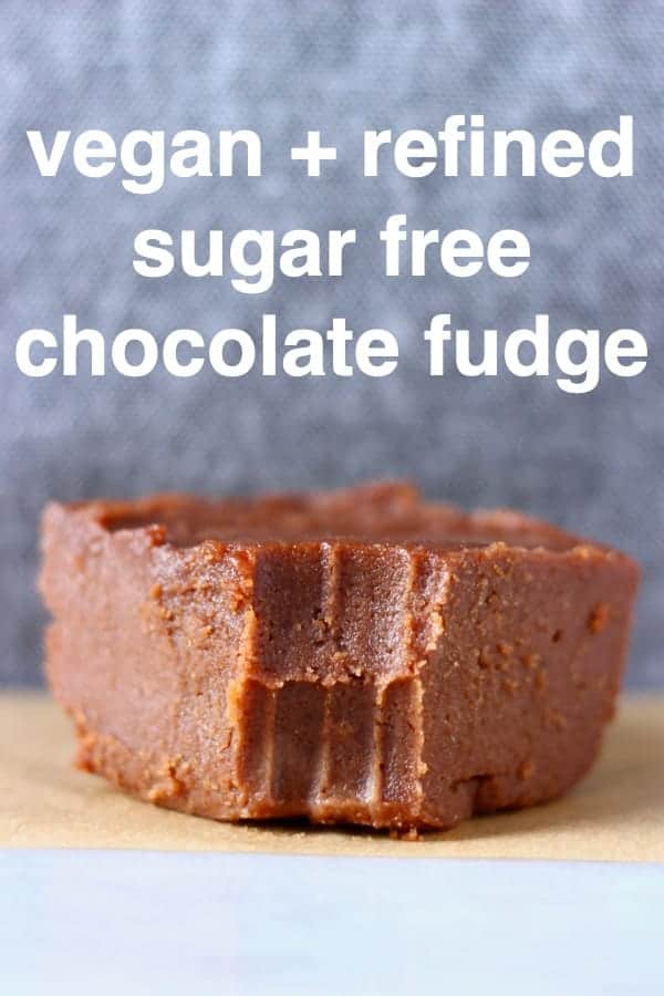 This Vegan Chocolate Fudge is perfectly sweet, seriously rich and melt-in-your-mouth creamy! It's made with cashew nuts and dates and is dairy-free, gluten-free, paleo and refined sugar free. An easy no-bake dessert or edible gift for Christmas! #rhiansrecipes #vegan #fudge #chocolate #paleo #glutenfree #dairyfree #christmas