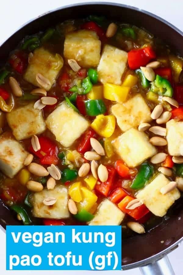 This Vegan Kung Pao Tofu is super easy to make, full of flavour and packed with veggies and roasted peanuts. It's dairy-free, egg-free, gluten-free and refined sugar free too. The best quick and easy plant-based dinner that tastes much better than takeout! #rhiansrecipes #vegan #vegetarian #tofu #glutenfree