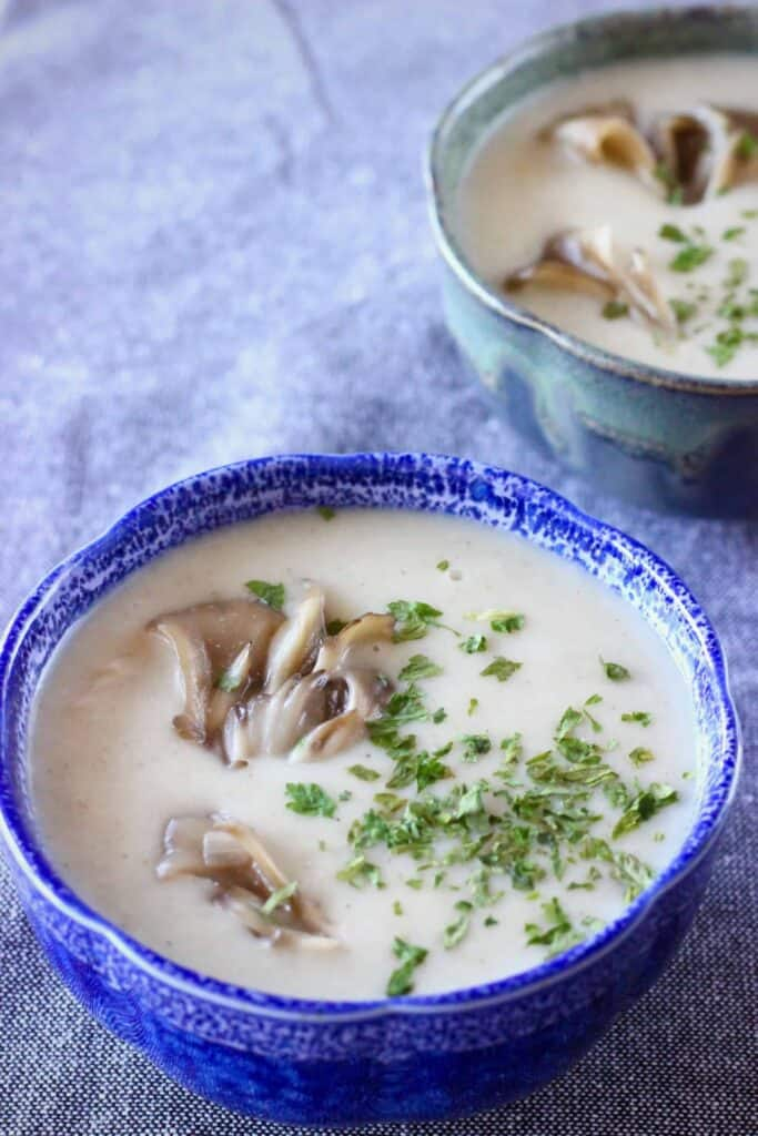 Photo of two bowls filled with creamy white soup topped with mushrooms and green herbs against a grey fabric background