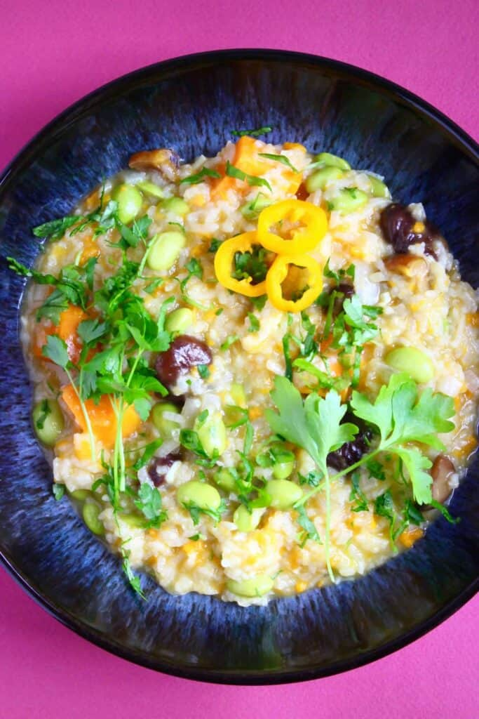 Photo of orange risotto with brown chestnuts decorated with green herbs in a dark blue bowl against a bright pink background