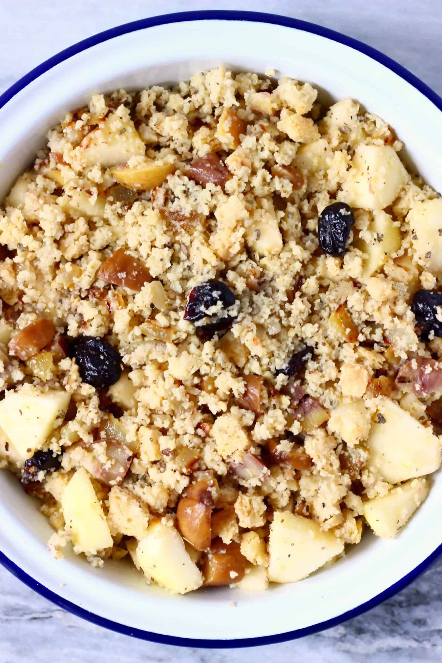 Diced apple, dried cherries, dried sage, chopped chestnuts, breadcrumbs and diced fried onion in a pie dish