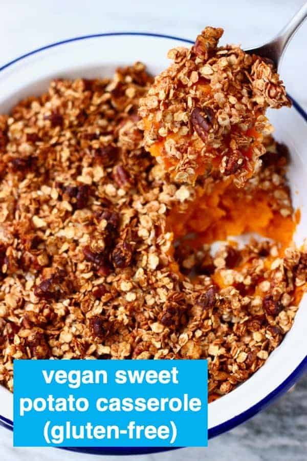 This Vegan Sweet Potato Casserole isrich and creamy, subtly spiced and topped with crunchy oats and pecans. The best savoury-sweet side dish for Thanksgiving! Much healthier than the traditional version - dairy-free, egg-free, gluten-free, refined sugar free, vegetarian. #rhiansrecipes #vegan #dairyfree #glutenfree #sweetpotato #veganthanksgiving #thanksgiving #christmas