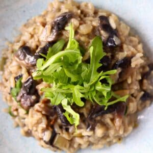 A pile of mushroom risotto topped with rocket on a light blue plate