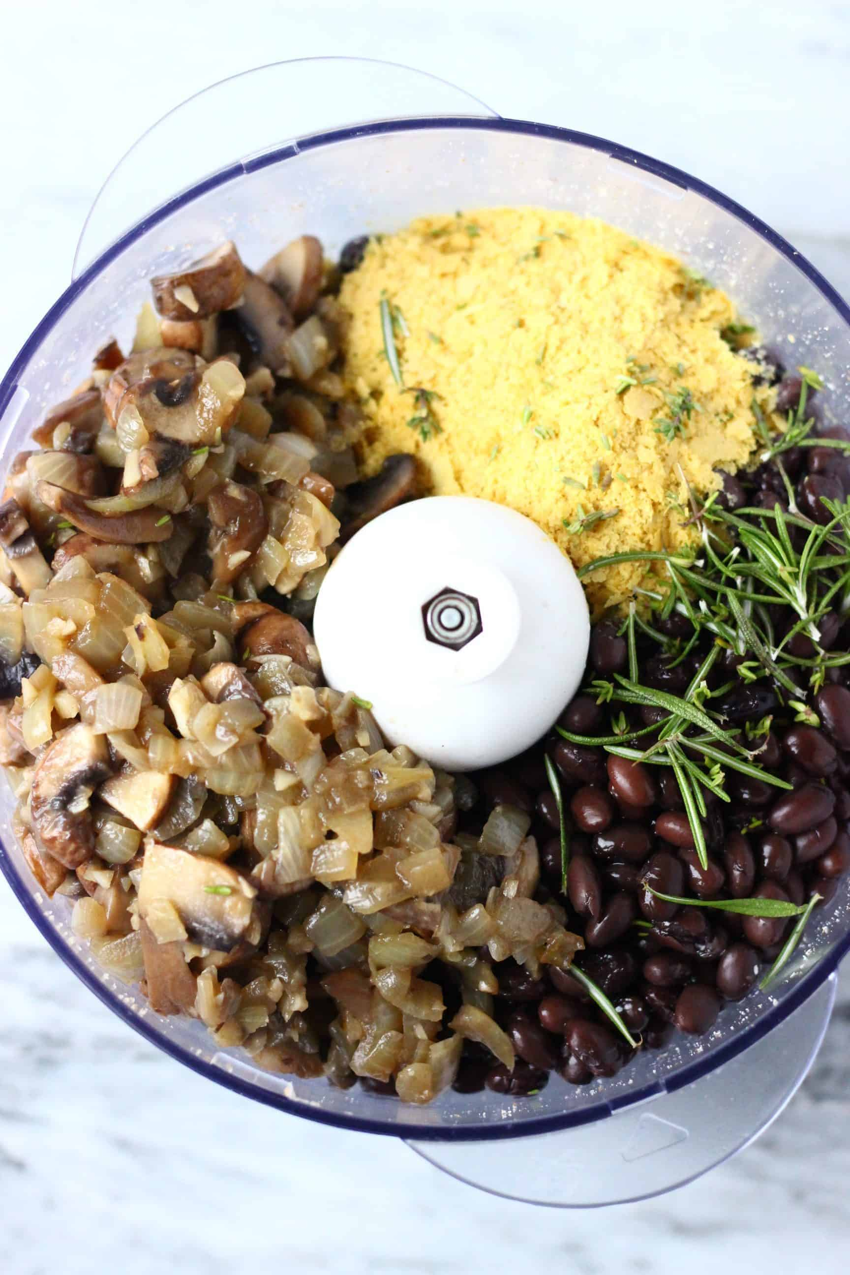 Fried onion and mushrooms, nutritional yeast, rosemary, black beans and nutritional yeast in a food processor