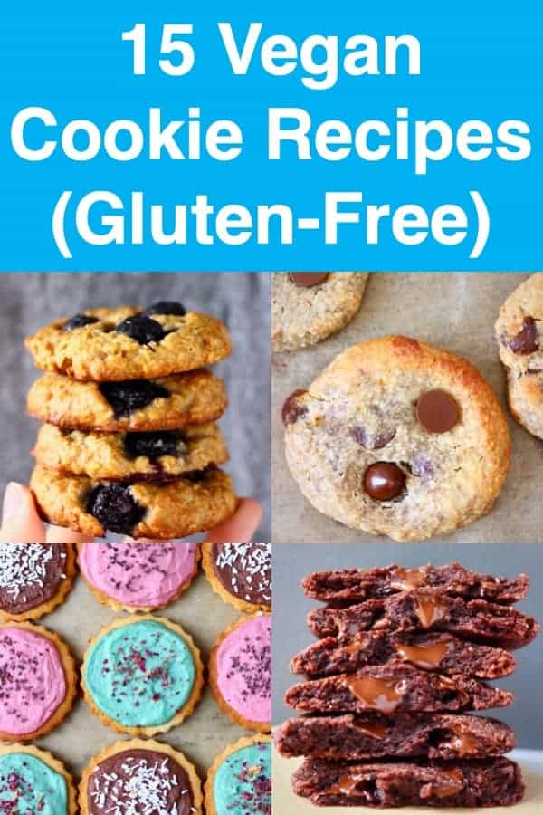 15 Vegan Cookie Recipes: chocolate, oatmeal, fruit, chocolate chip, nuttyand festive cookies. All dairy-free, egg-free,gluten-free and refined sugar free, and some are grain-free and paleo. Perfect for dessert, snacks, meal prep, edible gifts or Christmas cookies! #rhiansrecipes #dairyfree #cookies #christmas #baking #dessert #glutenfree #vegan #paleo