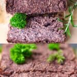 A collage of two vegan meatloaf photos