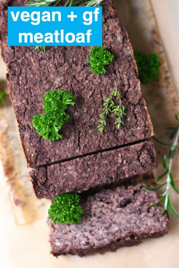 This Vegan Meatloaf is made withhearty black beans,earthy walnuts andsavourymushrooms - it'srichand flavourful,filling andsatisfyingand supereasyto make!Perfect for Christmas, Thanksgiving and everything else in between! Vegetarian, gluten-free, dairy-free and egg-free. #rhiansrecipes #meatloaf #christmas #thanksgiving #vegan #dairyfree #glutenfree #vegetarian