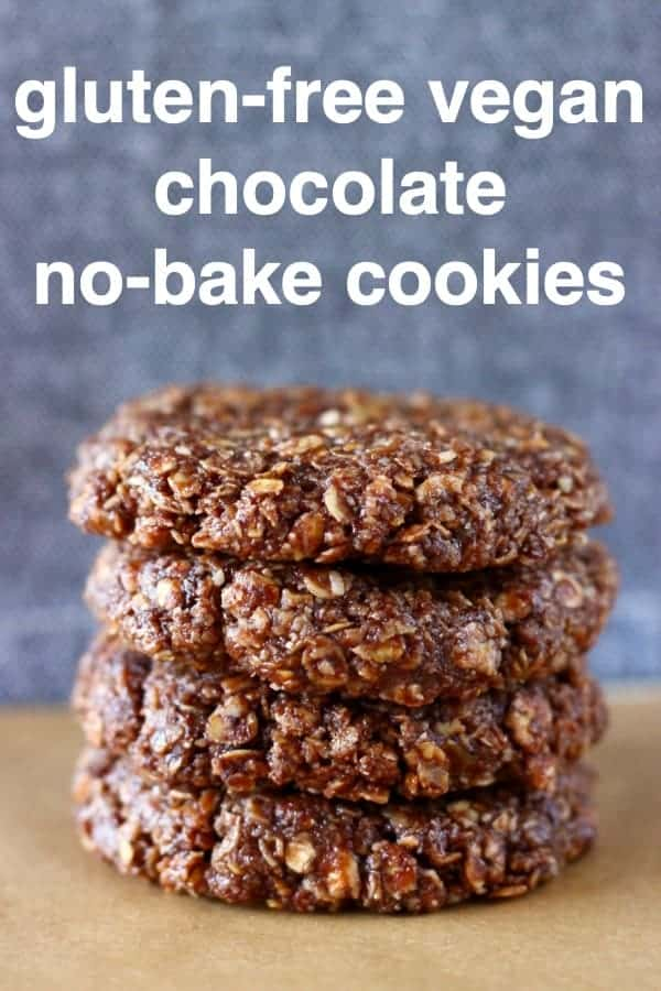 These Gluten-Free Vegan Chocolate No-Bake Cookies are fudgy, chewy, rich and satisfying. They're super easy and take just 15 minutes to make! Refined sugar free, egg-free, dairy-free and healthy. A super easy dessert, snack, meal prep, breakfast or Christmas treat! #rhiansrecipes #nobake #cookies #vegan #dairyfree #glutenfree #christmas #mealprep