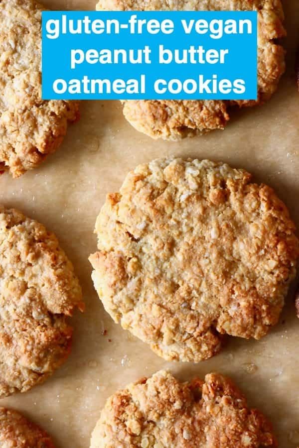 TheseGluten-Free Vegan Peanut Butter Oatmeal Cookies aresoftandchewy,perfectly sweetandnutty. They're supereasyto make andsatisfyingtoo! They make an amazing dessert, snack or breakfast. Dairy-free, egg-free and refined sugar free. #rhiansrecipes #dairyfree #vegan #glutenfree #peanutbutter #cookies #dessert