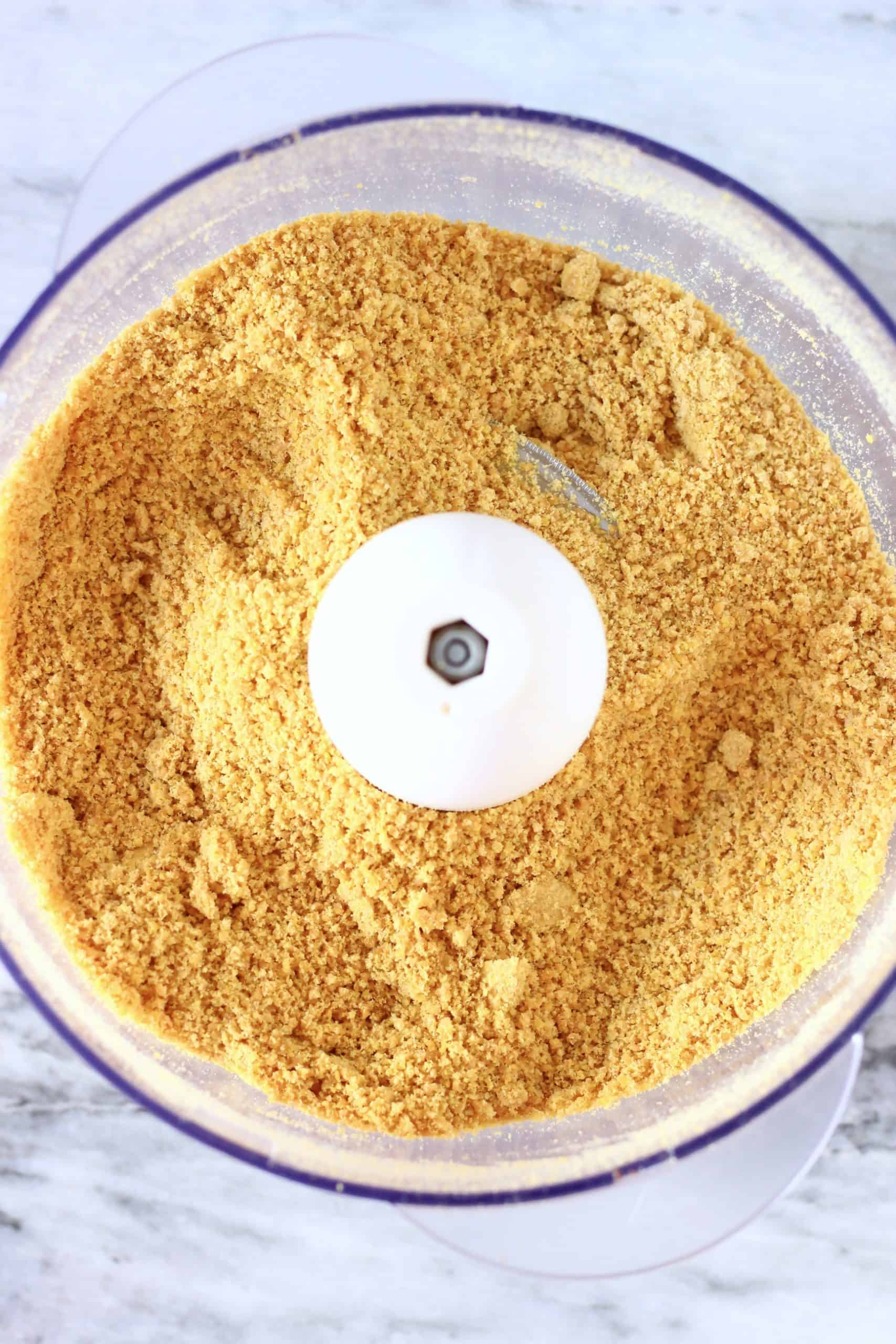 Golden flaxseed powder in a food processor