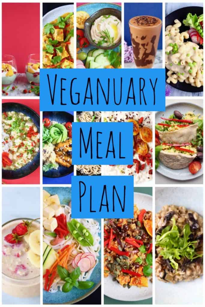 A collage of photos with text saying Veganuary Meal Plan