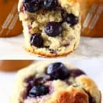 A collage of two Gluten-Free Vegan Blueberry Banana Muffins photos