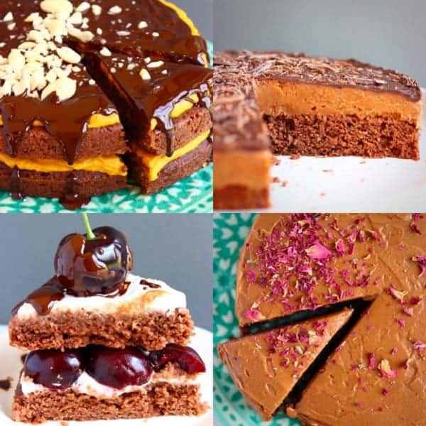 Collage of four chocolate cake photos