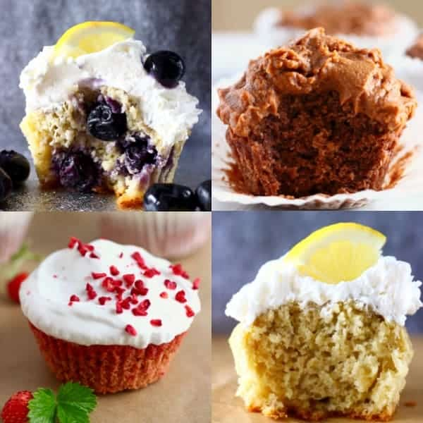 A collage of four cupcake photos