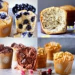 Four muffin photos in a collage