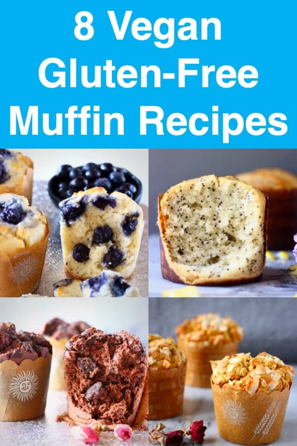 8 Vegan Muffin Recipes - blueberry, lemon, apple, carrot, pumpkin, banana and chocolate muffins! All gluten-free, refined sugar free, dairy-free and egg-free. Perfect for a healthy breakfast, brunch, snack or dessert! #muffins #rhiansrecipes #glutenfree #dairyfree #vegan #baking