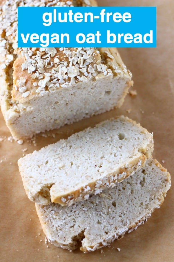 ThisGluten-Free Vegan Oat Bread issoft on the inside, crusty on the outside,nutty, slightly chewy,and unbelievablyeasyto make! It's alsono-knead,yeast-freeandcompletelyfree from sugar! It's made in one bowl using simple ingredients, slices well and is perfect for making sandwiches! Dairy-free, soy-free, oil-free, corn-free, egg-free and nut-free optional. #rhiansrecipes #baking #bread #glutenfree #yeastfree #vegan #dairyfree #eggfree