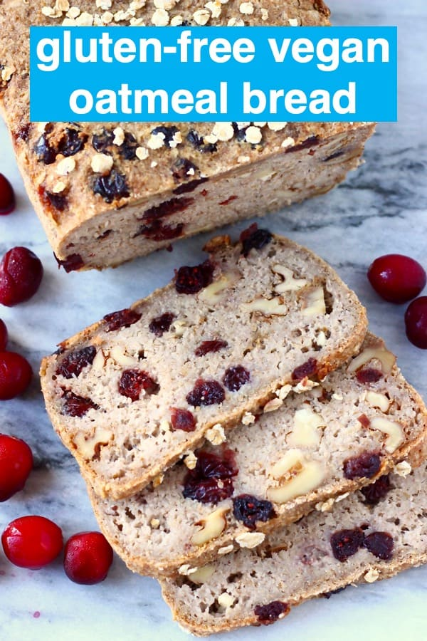 ThisGluten-Free Vegan Oatmeal Bread is seriouslyeasyto make, perfectly chewy,nuttyand packed withjuicycranberries. It doesn't require any flours and is no-knead, yeast-freeand contains no added sugar! It's made in one bowl using simple ingredients, slices well and is perfect for making sandwiches or for sweet toppings! Dairy-free, soy-free, oil-free, corn-free and egg-free. #rhiansrecipes #baking #bread #glutenfree #yeastfree #vegan #dairyfree #eggfree
