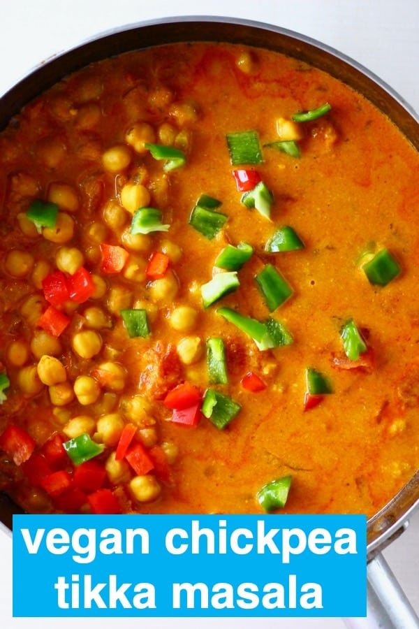 ThisVegan Chickpea Tikka Masala isrichandcreamy,perfectly tangyandfull of flavour. It's aneasyandnutritiousdinner, and muchhealthier than the traditional version! #rhiansrecipes #vegan #vegetarian #dairyfree #glutenfree #curry #chickpea