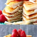 A collage of two vegan coconut flour pancakes photos