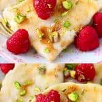 A collage of two gluten-free vegan crepes photos