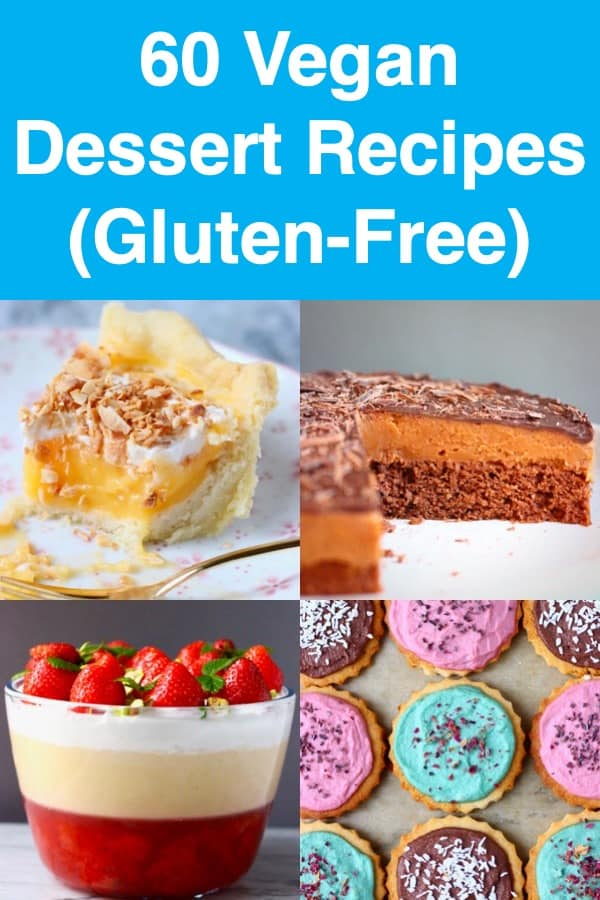 60 Vegan Dessert Recipes - a huge selection of cakes, cupcakes, cookies, puddings, trifles, truffles, brownies and pies. Perfect for birthday parties, bridal showers, Mother's Day, baby showers, Easter, Christmas, Thanksgiving, dinner parties or just every day! All egg-free, dairy-free, gluten-free and refined sugar free. #rhiansrecipes #dessert #baking #vegan #glutenfree #dairyfree