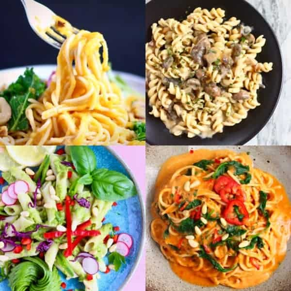 Collage of four pasta photos