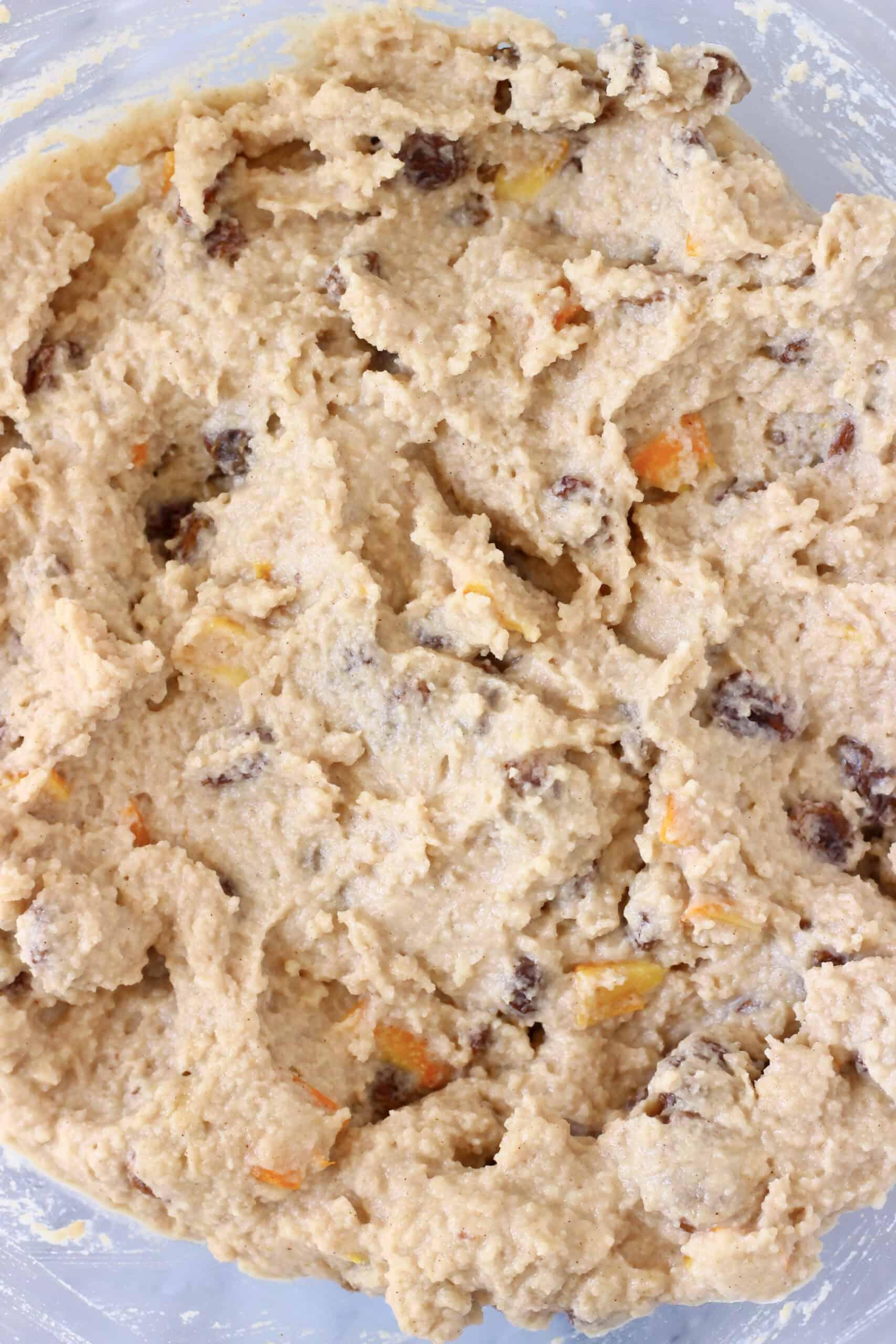 Raw gluten-free vegan hot cross bun loaf batter in a bowl