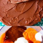 A collage of two Vegan Sweet Potato Chocolate Buttercream Frosting photos