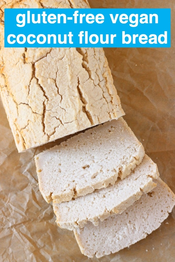 This Coconut Flour Bread is easy to make, yeast-free, no-knead, oil-free and contains no added sugar! It's moist and fluffy and perfect for sandwiches. Vegan, gluten-free, egg-free and dairy-free. #rhiansrecipes #vegan #glutenfree #dairyfree #coconutflour #yeastfree #bread