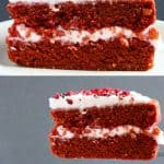 A collage of two Gluten-Free Vegan Red Velvet Cake photos