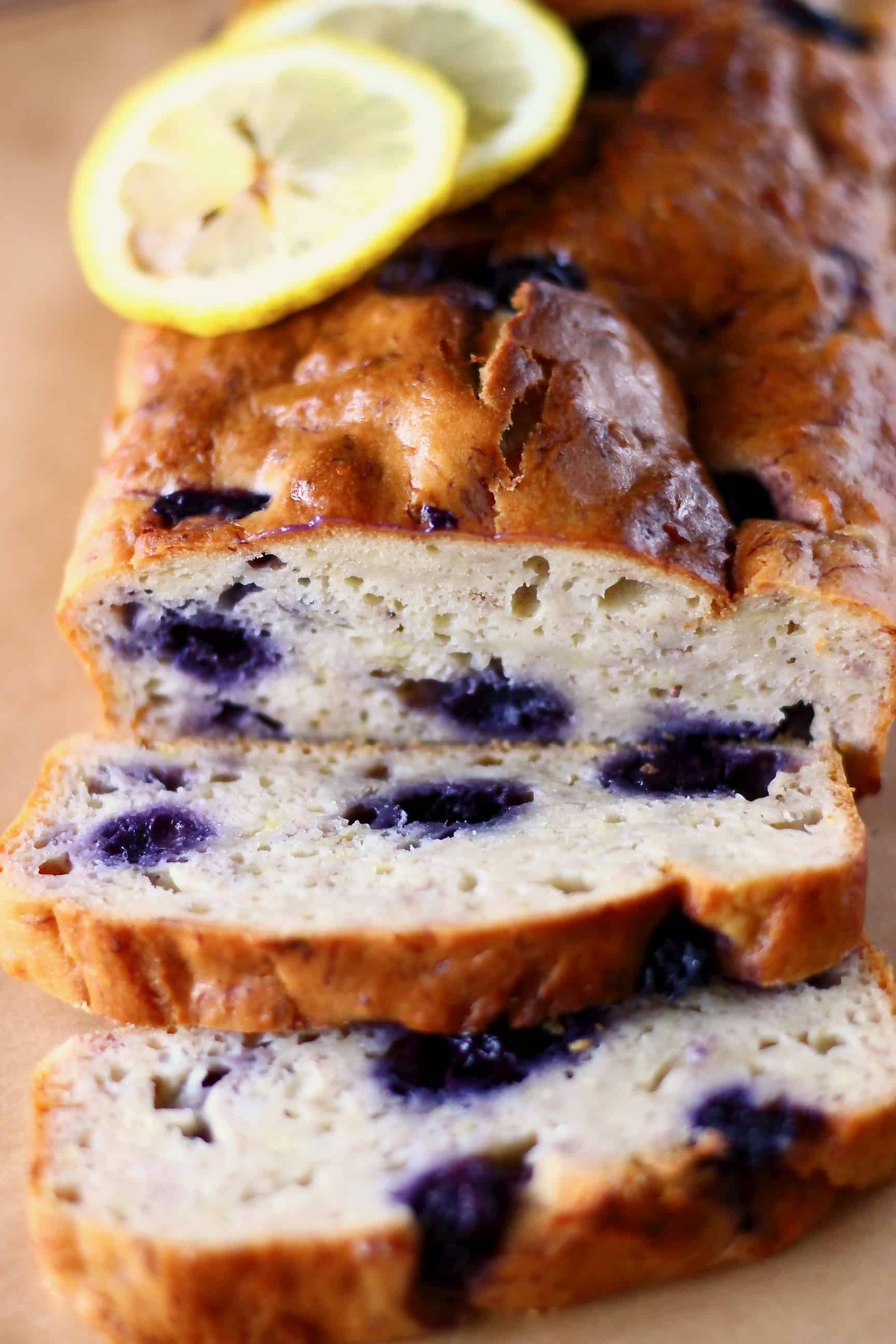 Lemon blueberry yogurt cake with two slices