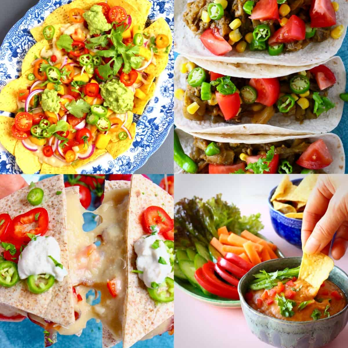 A collage of four vegan Mexican recipes