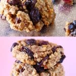 A collage of two Gluten-Free Vegan Oatmeal Raisin Cookies photos