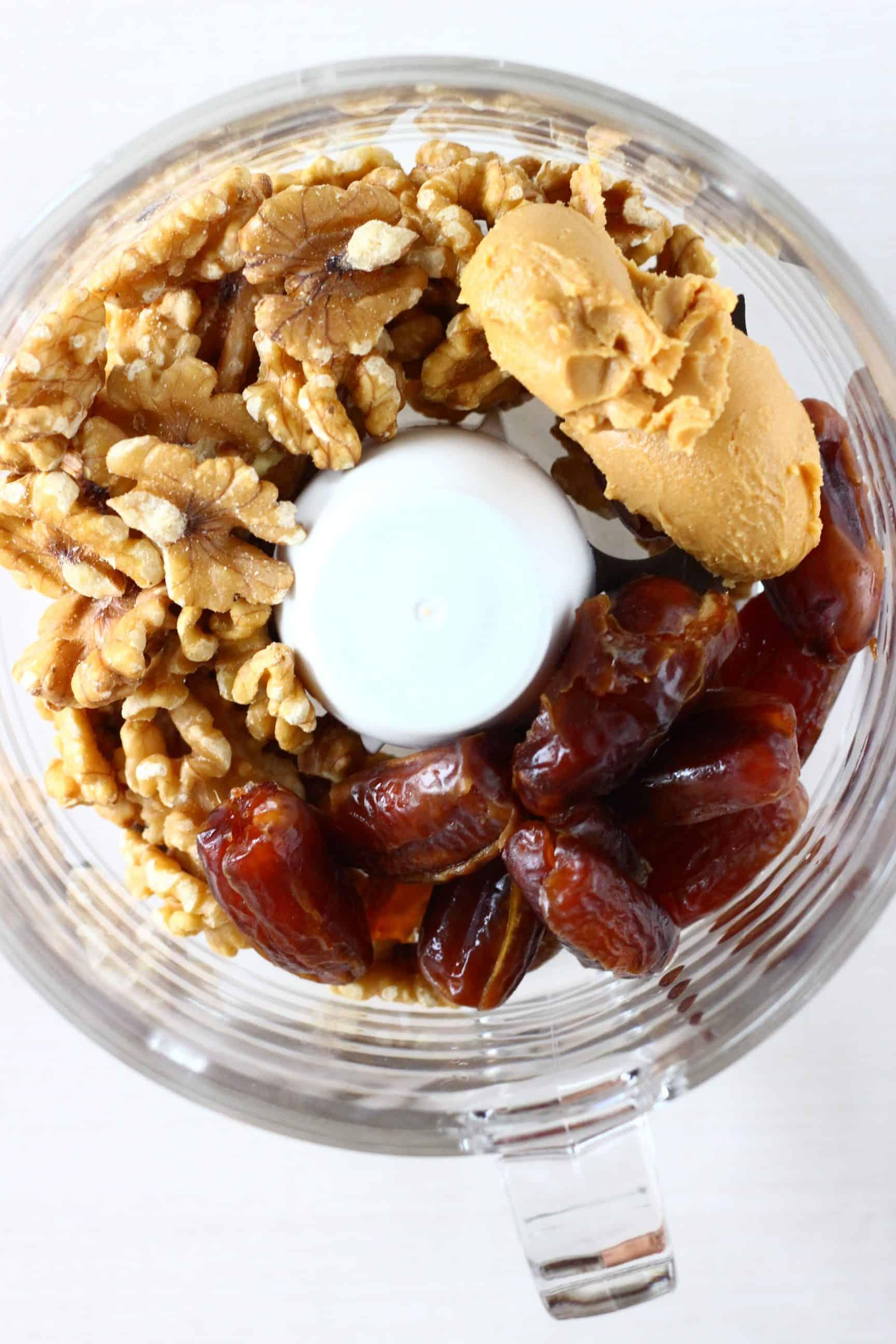 Walnuts, dates and peanut butter in a food processor