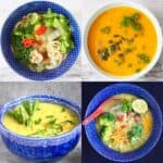 A collage of four soup photos
