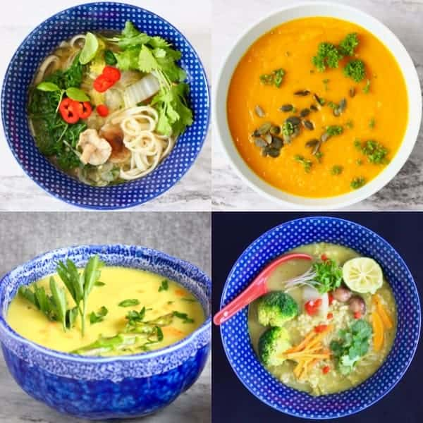 A collage of four soup photos