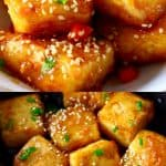 A collage of two Spicy Tofu photos