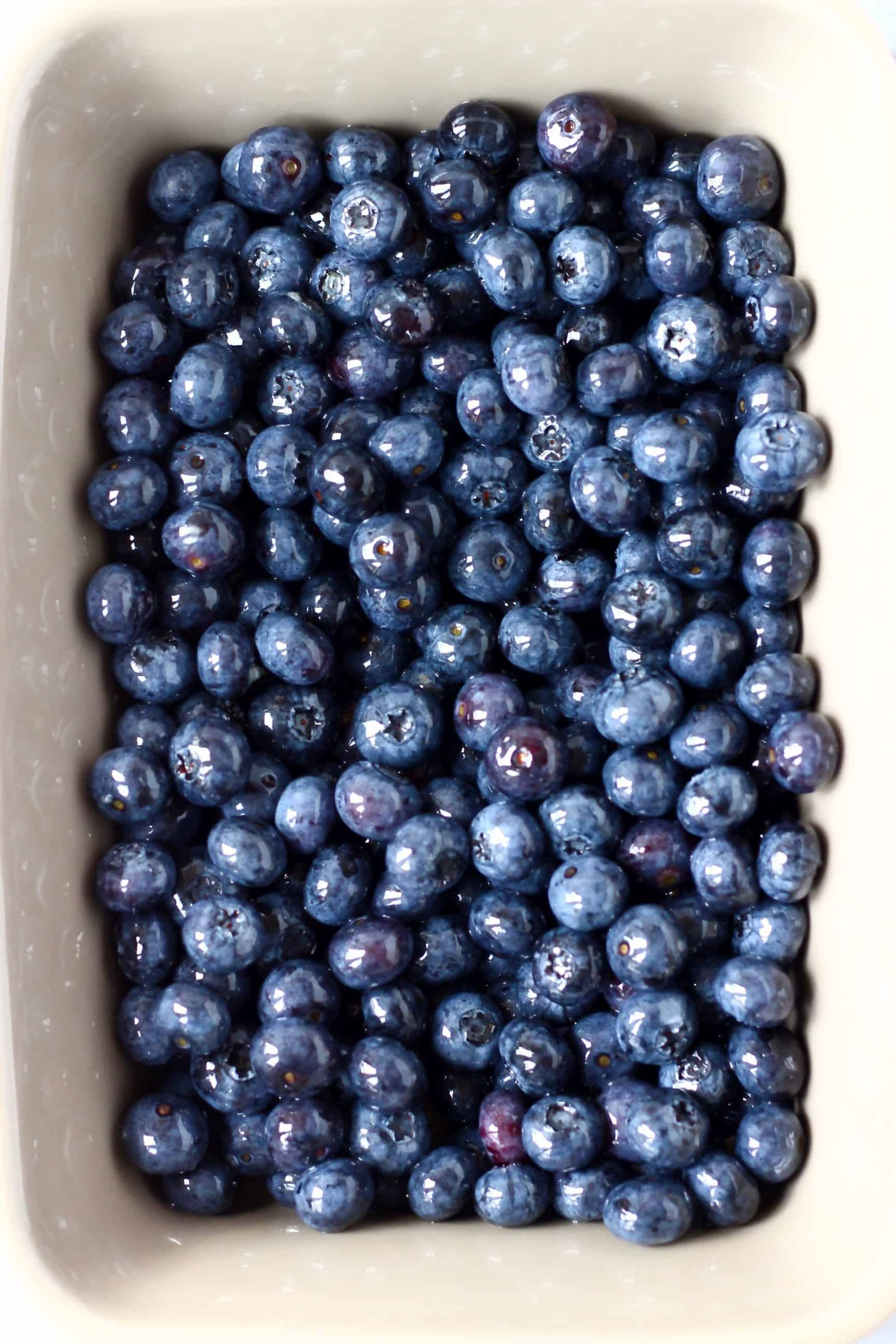 Blueberries in a grey rectangular baking dish