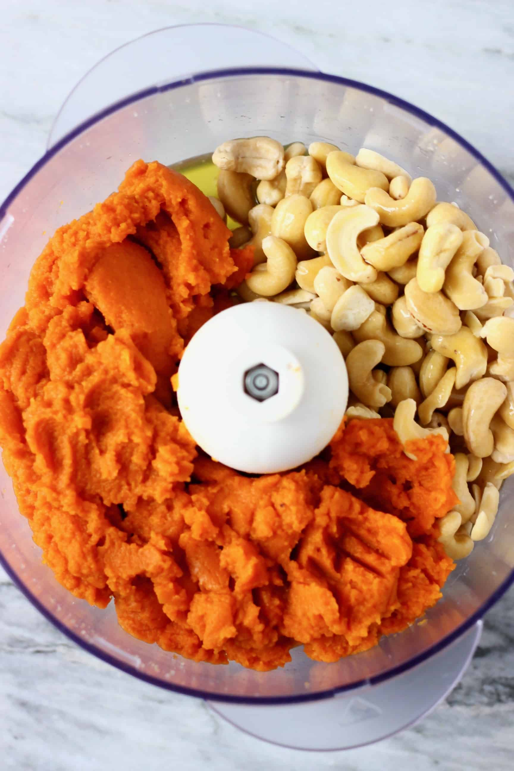 Pumpkin purée, cashew nuts, maple syrup and cacao butter in a food processor