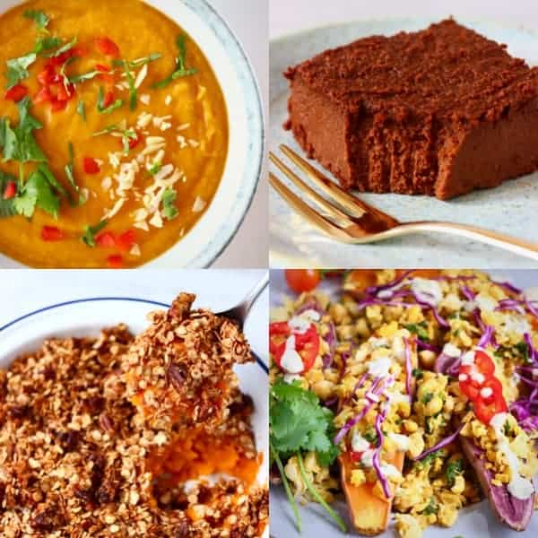 A collage of four vegan sweet potato recipe photos