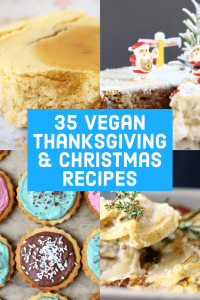 A collage of four vegan thanksgiving and christmas recipes photos with text overlay