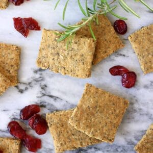 Four brown square crackers and dried cranberries against a marble background