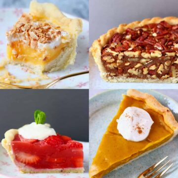A collage of vegan pie recipes