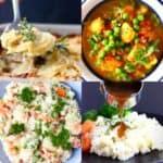 A collage of four vegan potato recipes photos
