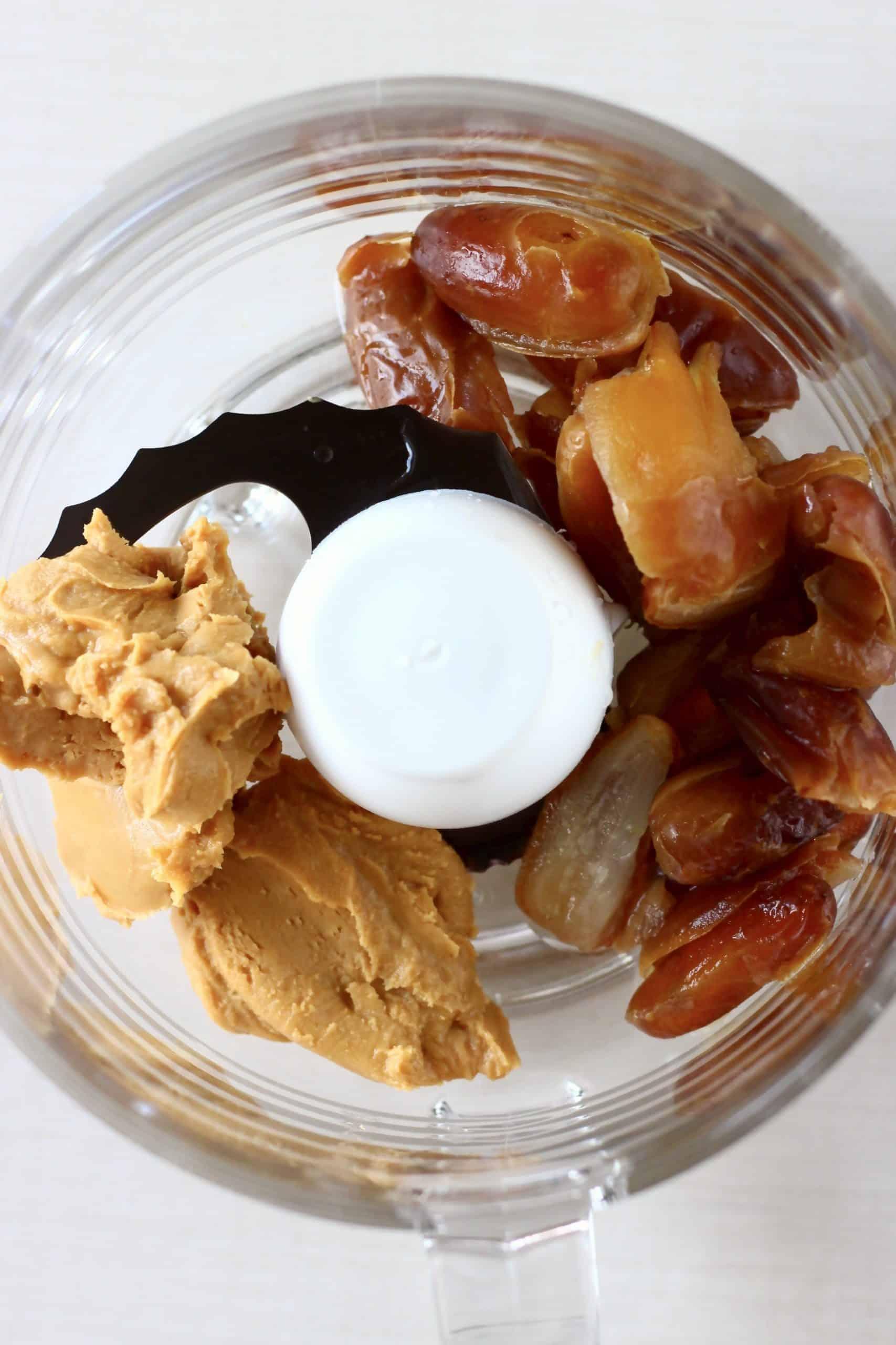 Dates, peanut butter, salt and vanilla in a food processor