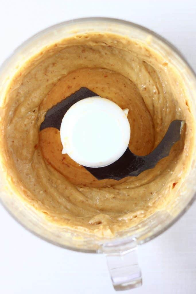 Blended up dates, peanut butter, salt and vanilla in a food processor