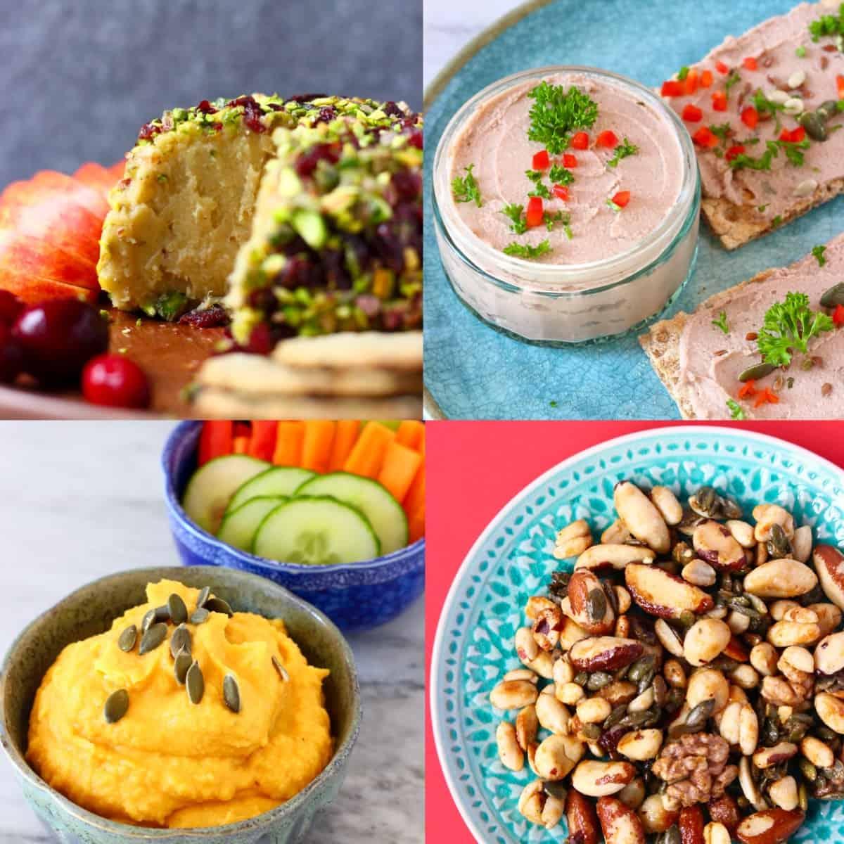 Collage of four vegan Thanksgiving appetizer photos